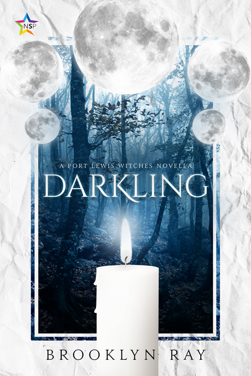 "The cover of Darkling, with dark blue-filtered image of a forest and a white crumpled paper border. At the top of the blue forest image, there are five moons framing the top like a crown, with the one at the top center the largest. At the base of the blue forest image and covering the center of the bottom part of the white paper border, there is a white candle that is currently lit. The text in the center, just below the moons, says in white ""DARKLING"" and in a smaller font just above it, ""A PORT LEWIS WITCHES NOVELLA"" The text at the bottom on the white paper border and on top of the candle says in black, ""BROOKLYN RAY"". In the top left corner sits the multi-colored star-shaped icon for Nine Star Press."