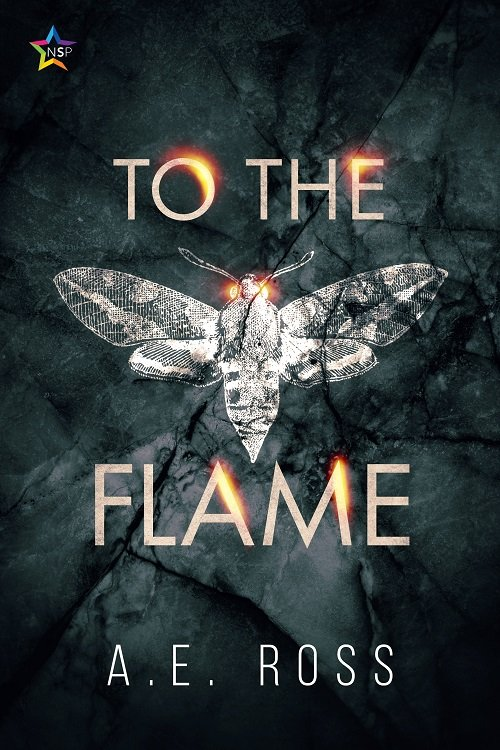 The cover of To the Flame by A. E. Ross, with a cracked charcoal-tinted glass effect covering an all-white moth with glowing yellow eyes. In the top left is the symbol for Ninestar Press, and the font for the title is in all caps with a glowing effect.